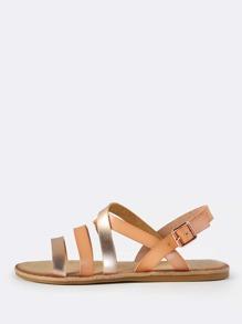 Two Tone Metallic Leather Sandals BLUSH