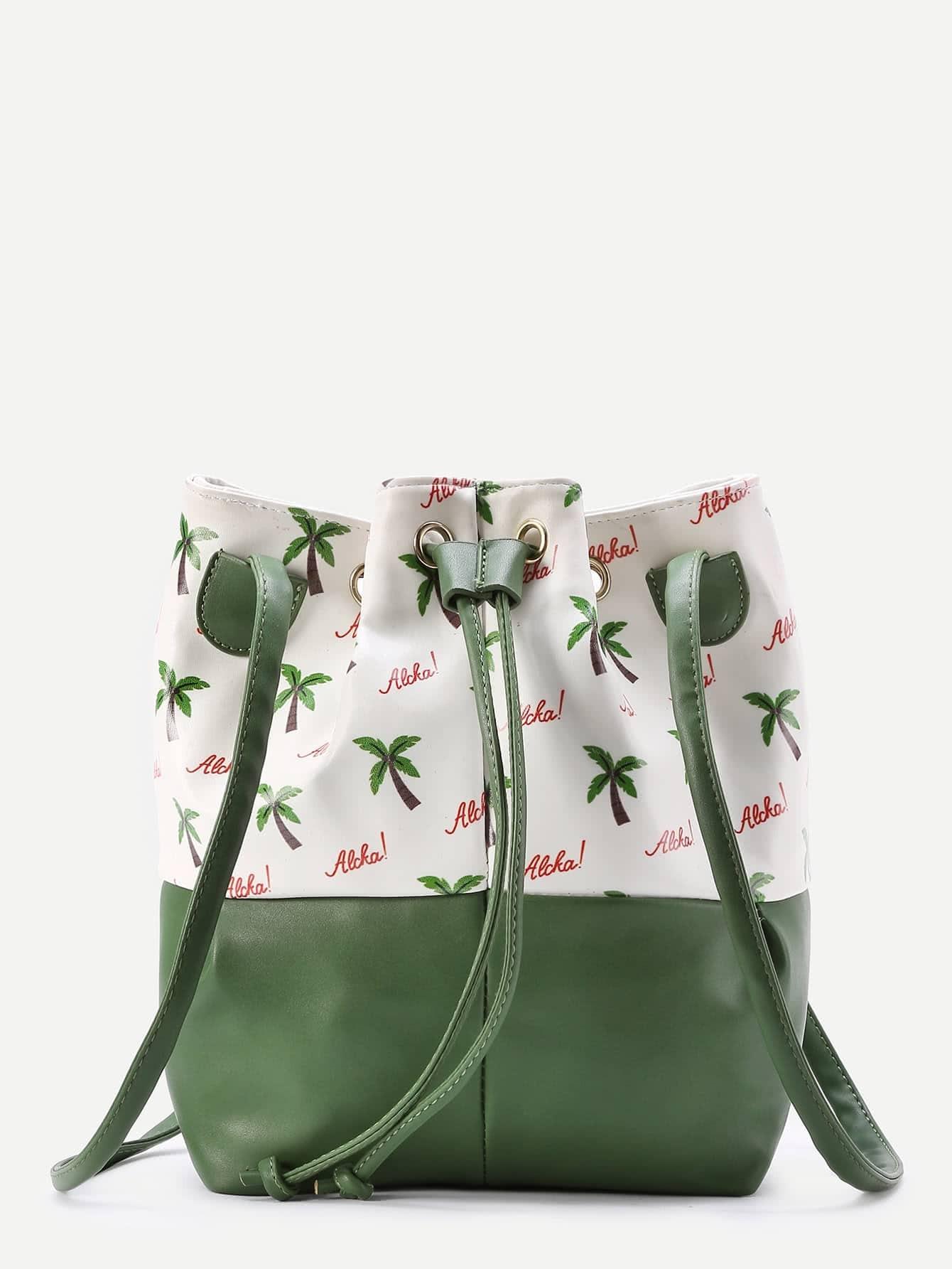 Фото Two Tone Palm And Letter Print Drawstring Bucket Bag. Купить с доставкой