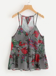 Camisole péplum imprimée des fleurs avec un lacet et un trou