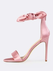 Side Bow Satin Ankle Strap Heels DUSTY PINK