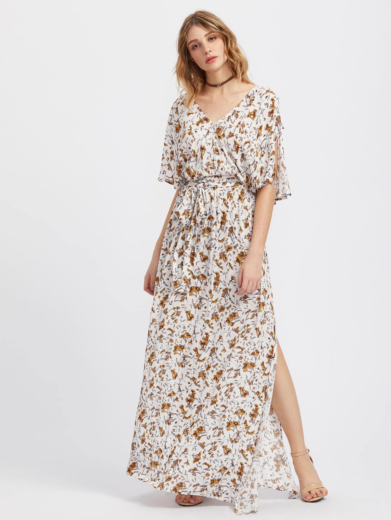 Фото Split Sleeve Botanical Print Kimono Dress. Купить с доставкой