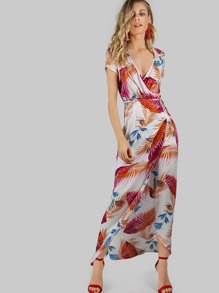 Palm Leaf Print Surplice Wrap Dress