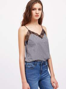 Lace Trim Checkered Cami Top