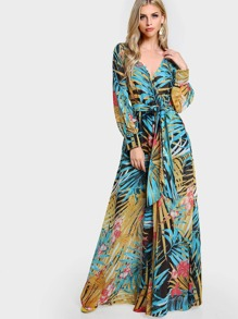 Long Sleeve Tropical Print Maxi Dress BLACK BLUE