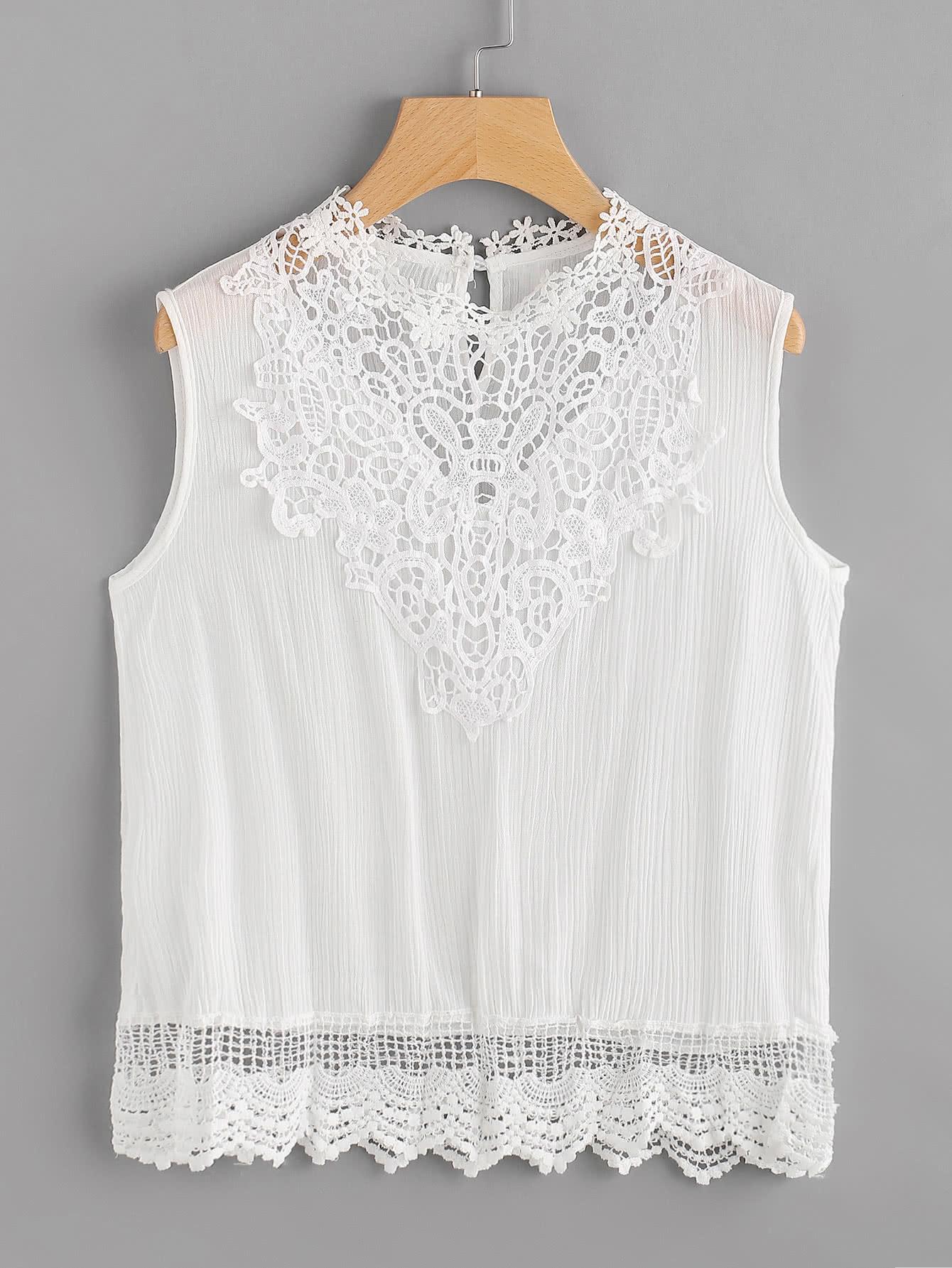 Фото Crochet Lace Insert Tank Top. Купить с доставкой