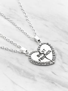 Rhinestone Trim Heart Shaped Friendship Necklace 2pcs