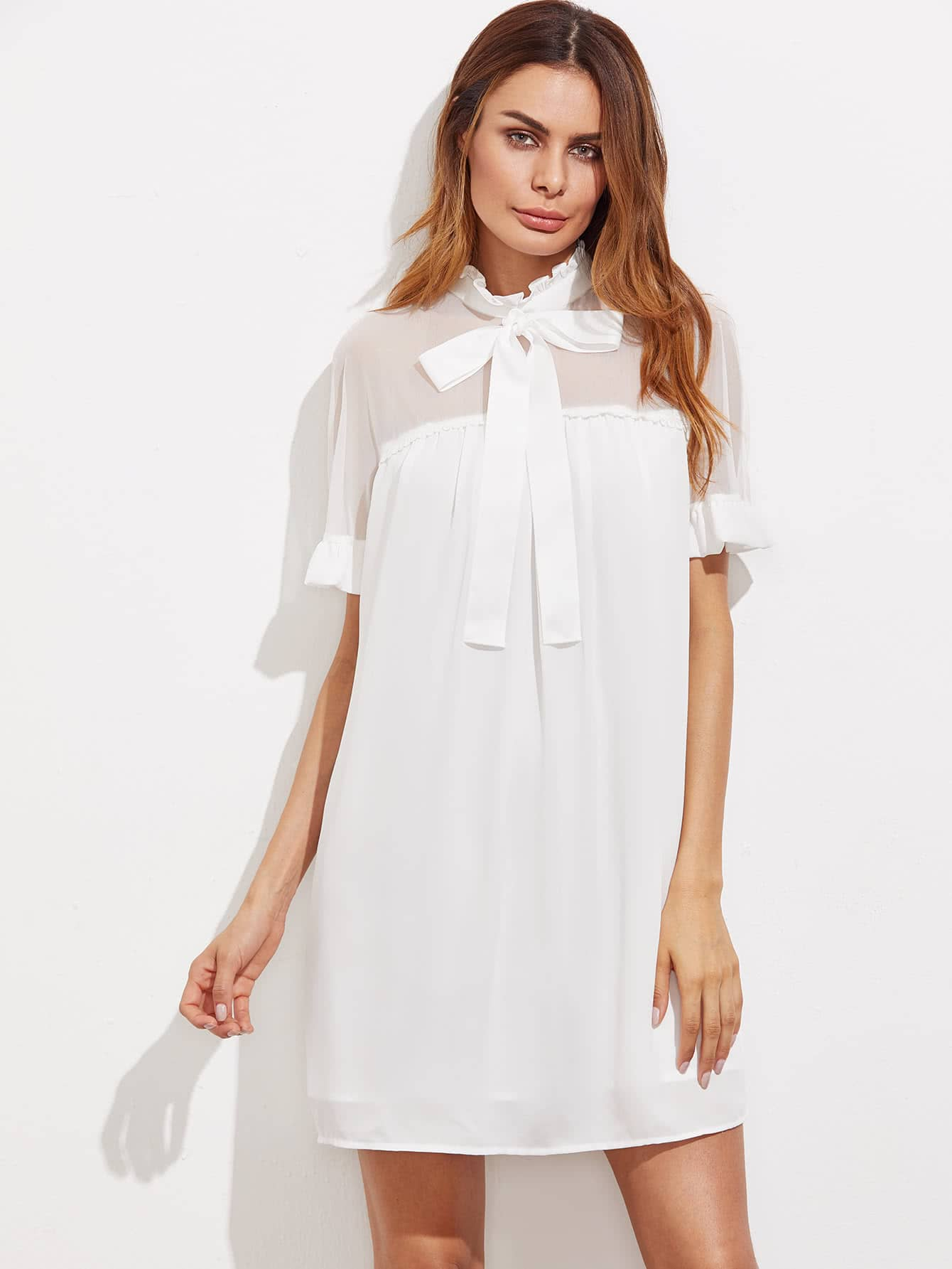 Bow Front Sheer Shoulder Frilled Dress print front button frilled dress