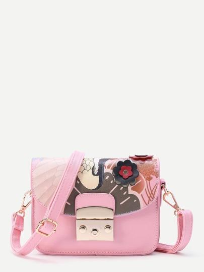 Flower Embellished Crossbody Bag