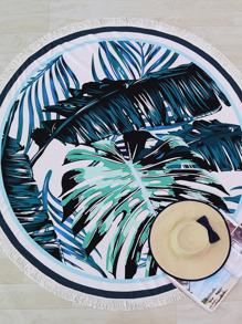 Tapis de plage rond imprimé Pom Pom garniture calicot