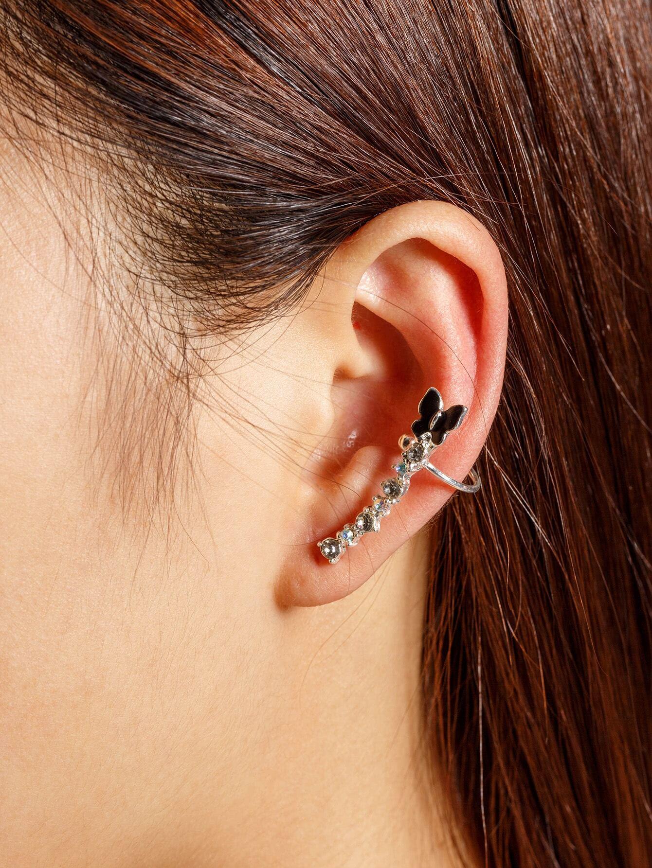 все цены на  Rhinestone Embellished Butterfly Ear Cuff 1pcs  онлайн