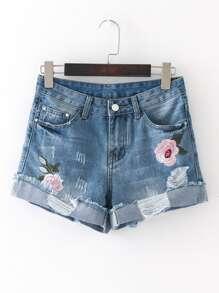 Shorts en jeans avec manche croquage et trou