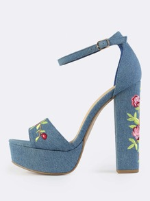 Embroidered Denim Platform Heels BLUE DENIM