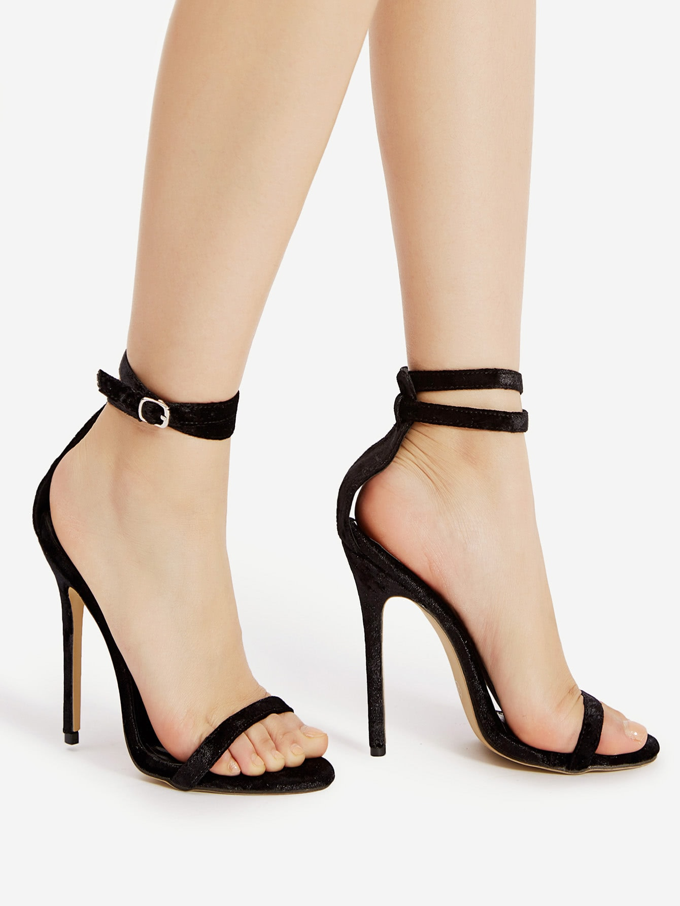 Two Part Stiletto Velvet Sandals Shein Sheinside