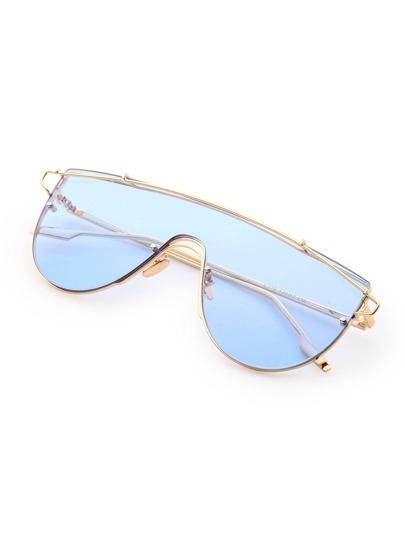 Metal Arm Tinted Lens Visor Sunglasses