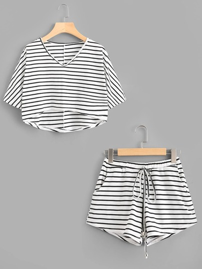 Striped Dip Hem Tee With Drawstring Shorts