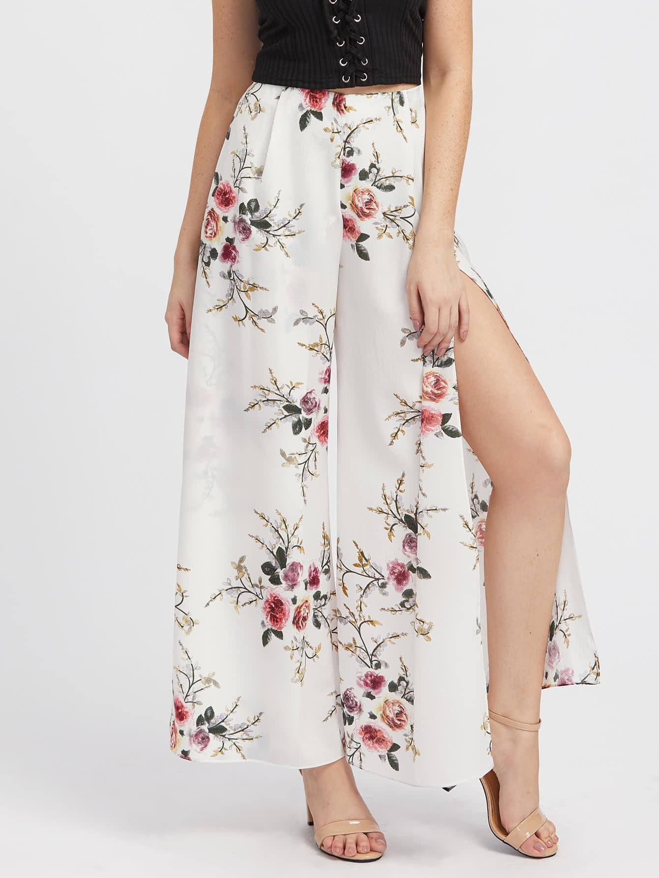 Фото High Slit Floral Culotte Pants. Купить с доставкой