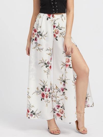 Pantalons fendu imprimé fleuri avec une culotte