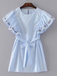 Ruffle Cuff Tie Waist Embroidery Dress