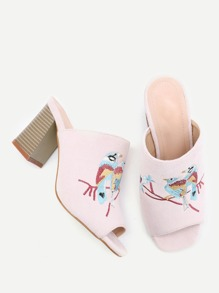 Sandalias de terciopelo con bordado de pájaro doble