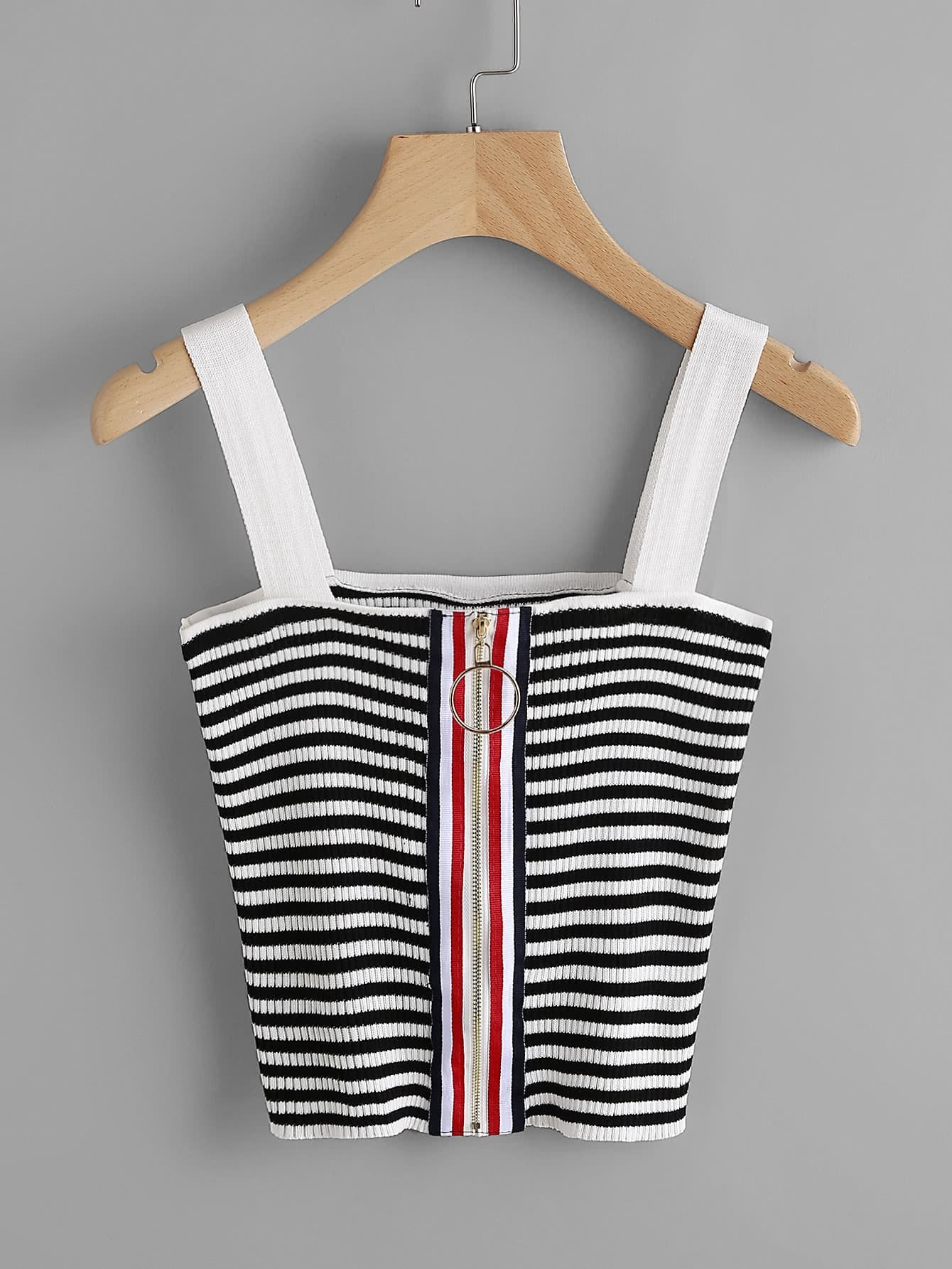 Striped Tape Zipper Up Ribbed Cami Top vest170519104