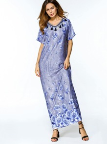 Rose Print Tassel Trim Full Length Dress