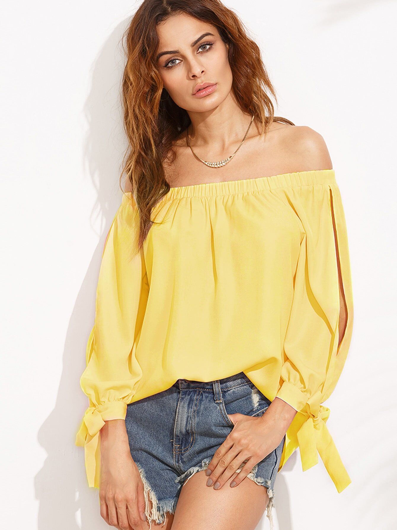 Split Self Tie Sleeve Bardot Top split sleeve self tie bodysuit
