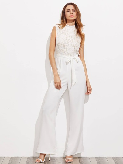 Lace Bodice Open Back Tailored Jumpsuit
