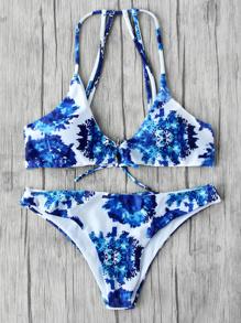 Sets de bikini de espalda con tiras con estampado