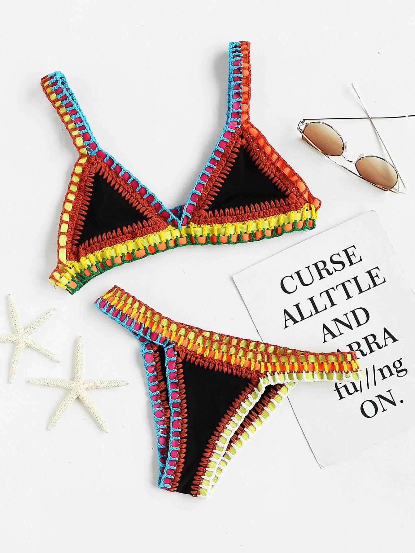 Фото Crochet Trim Triangle Bikini Set. Купить с доставкой