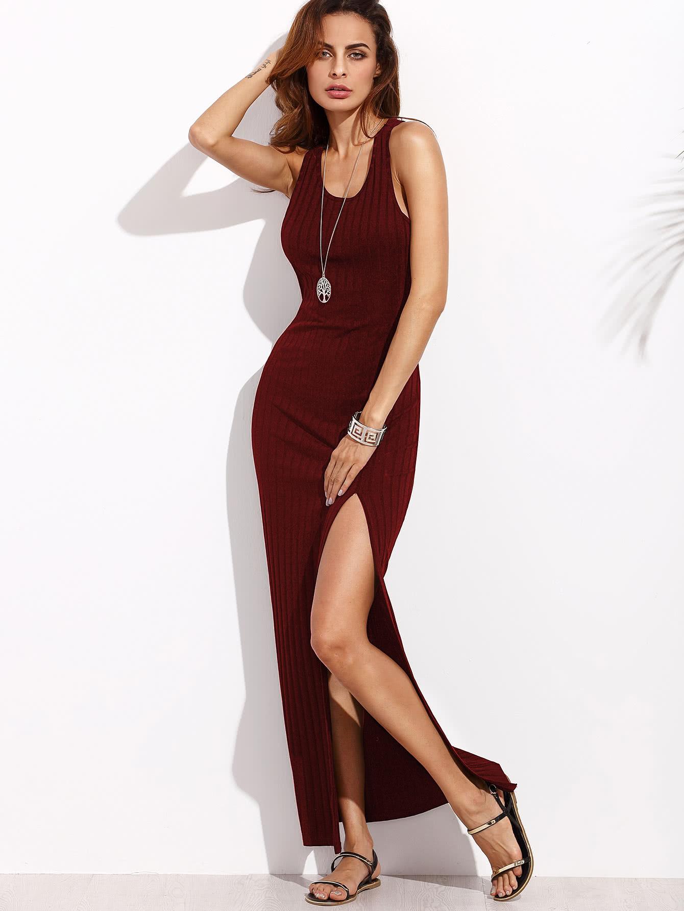 Rib Knit High Slit Racerback Dress dress170526703