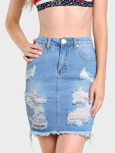 Distressed High Waist Denim Skirt DENIM