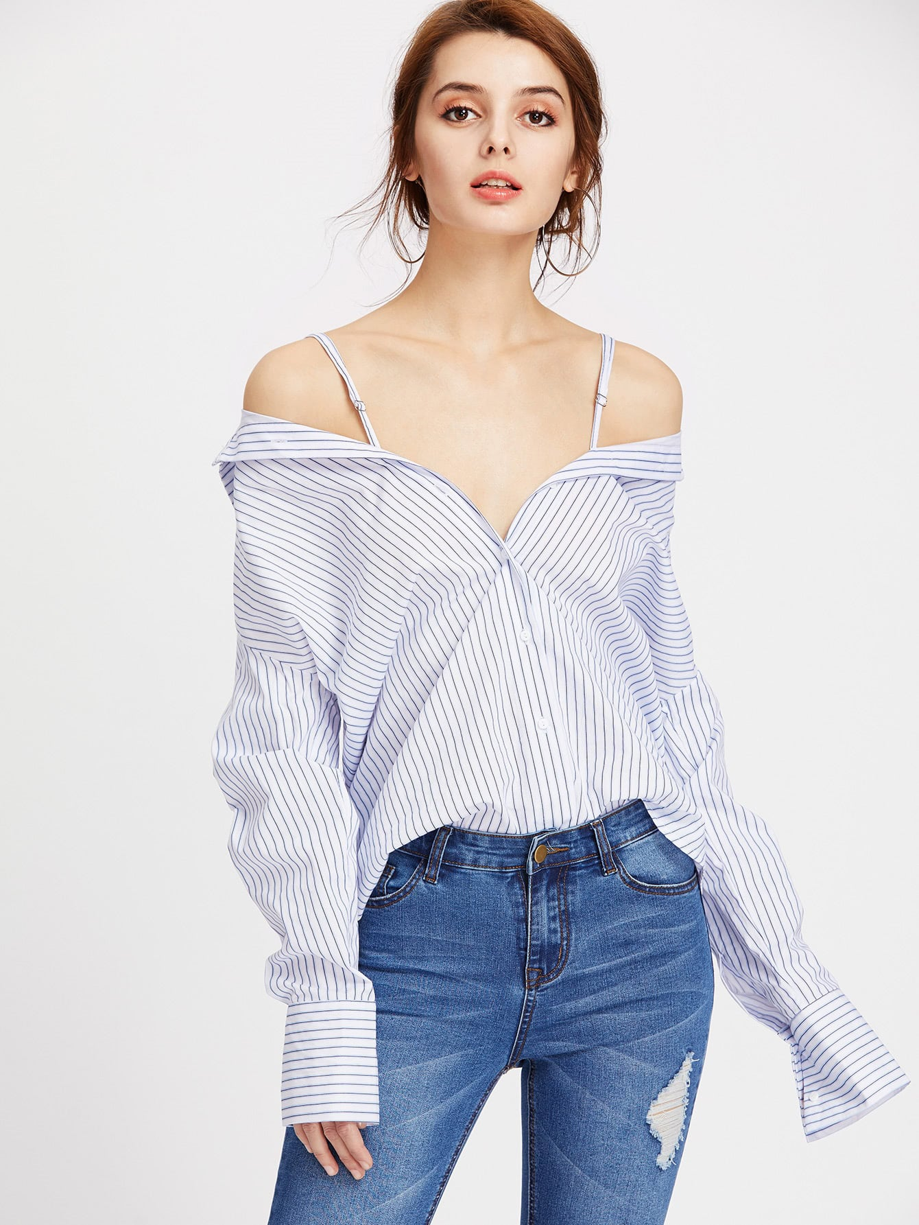 Фото Vertical Striped Convertible Blouse. Купить с доставкой