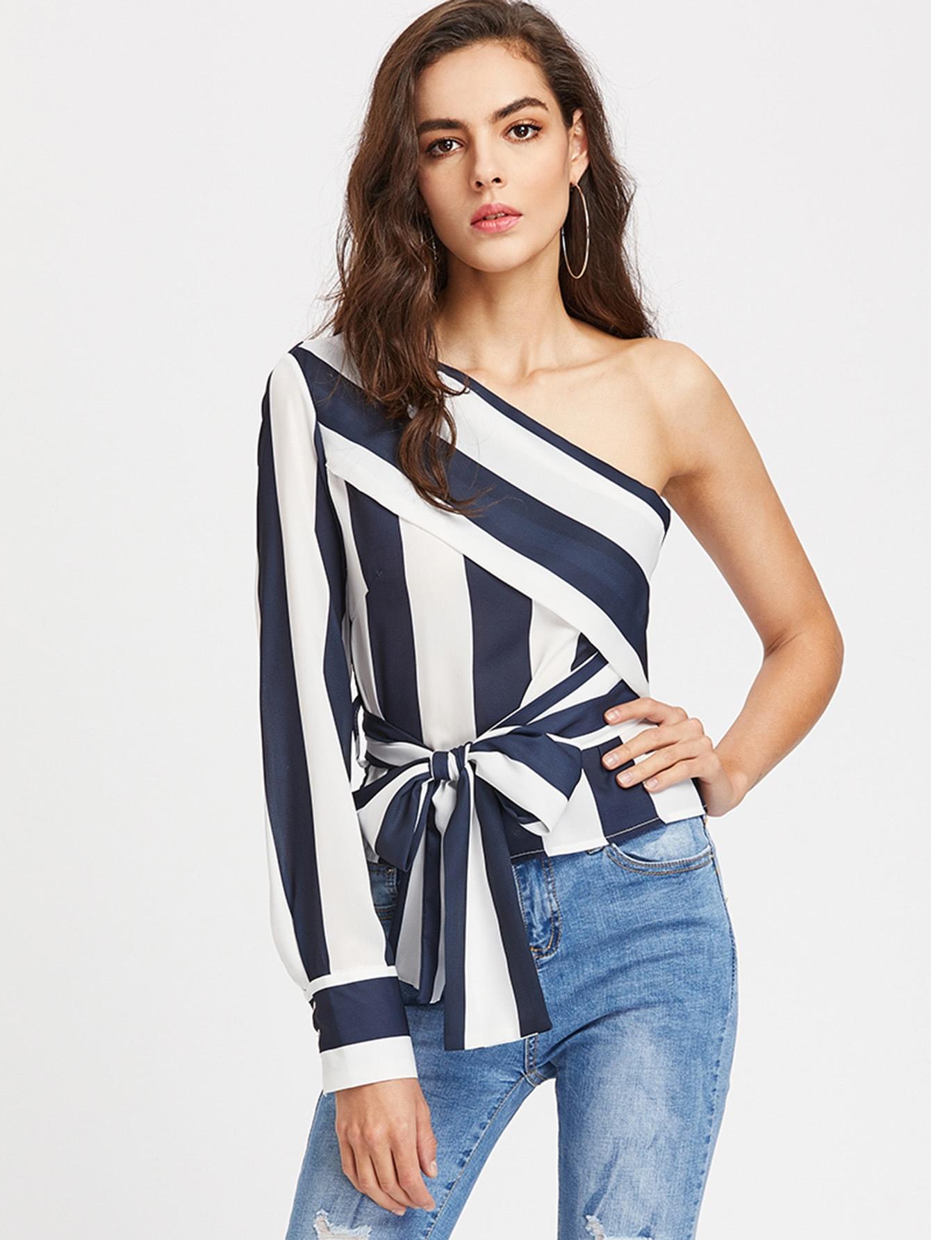 Oblique Shoulder Color Block Top With Bow Tie oblique shoulder layered frill ditsy top