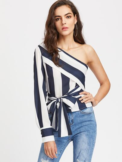 Oblique Shoulder Color Block Top With Bow Tie