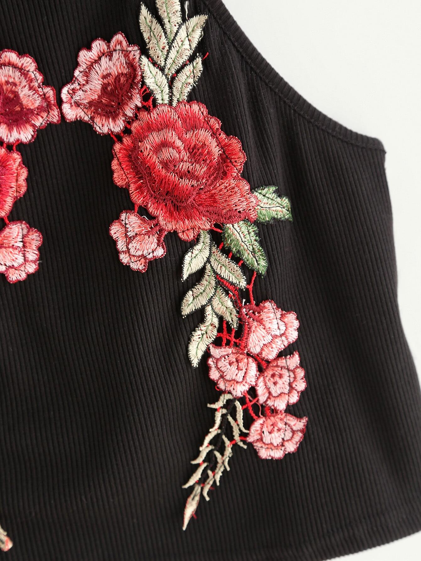 Rose embroidered patch ribbed halter top shein sheinside