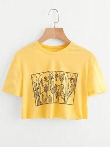 Tee-shirt imprimé des cactus