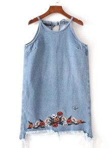 Tie Back Embroidery Frayed Denim Dress