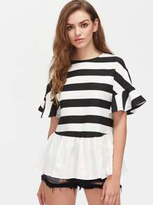 Trumpet Sleeve Striped Frill Hem Top