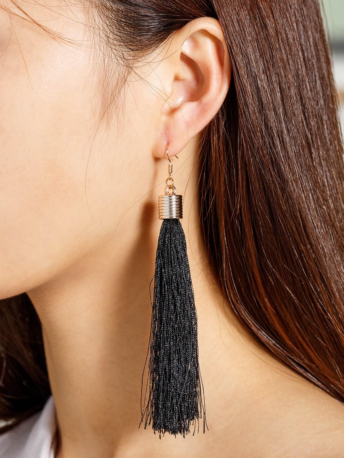 Фото Tassel Decorated Long Drop Earrings. Купить с доставкой