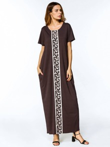 Contrast Panel Meander Pattern Cocoon Dress