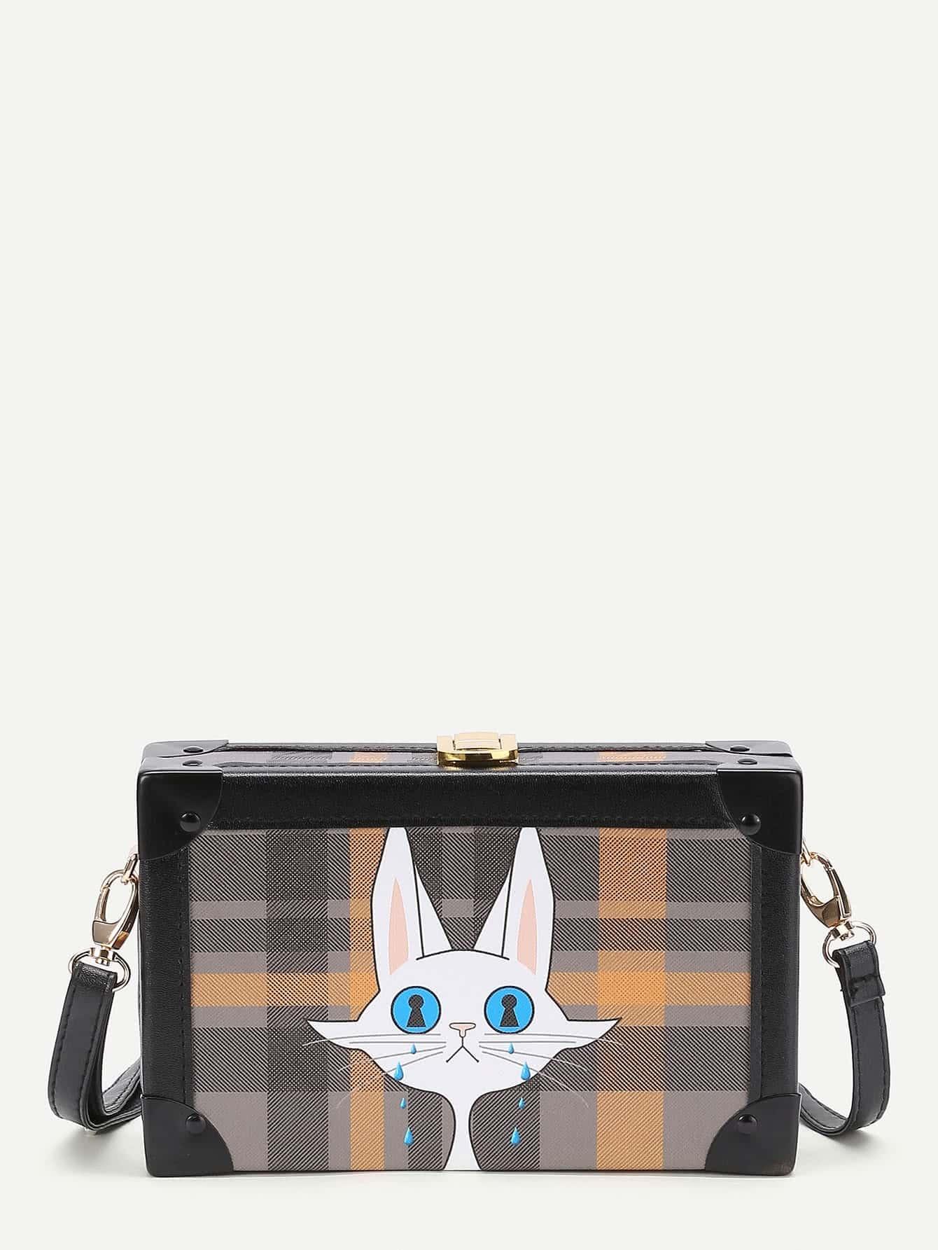 Фото Grid Cat Print Crossbody Bag. Купить с доставкой