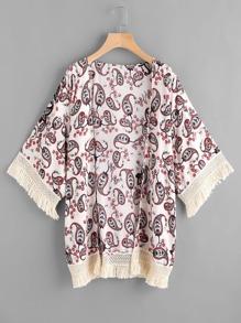 Kimono contrasté découpé imprimé en crochet