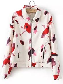 Jacke mit Blumenmuster und Reißverschluss