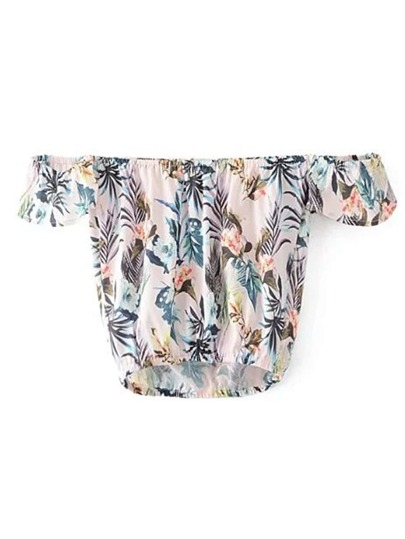 Shirred Off The Shoulder Leaves Print Top