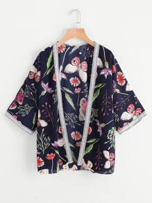Kimono stampato con ricamo