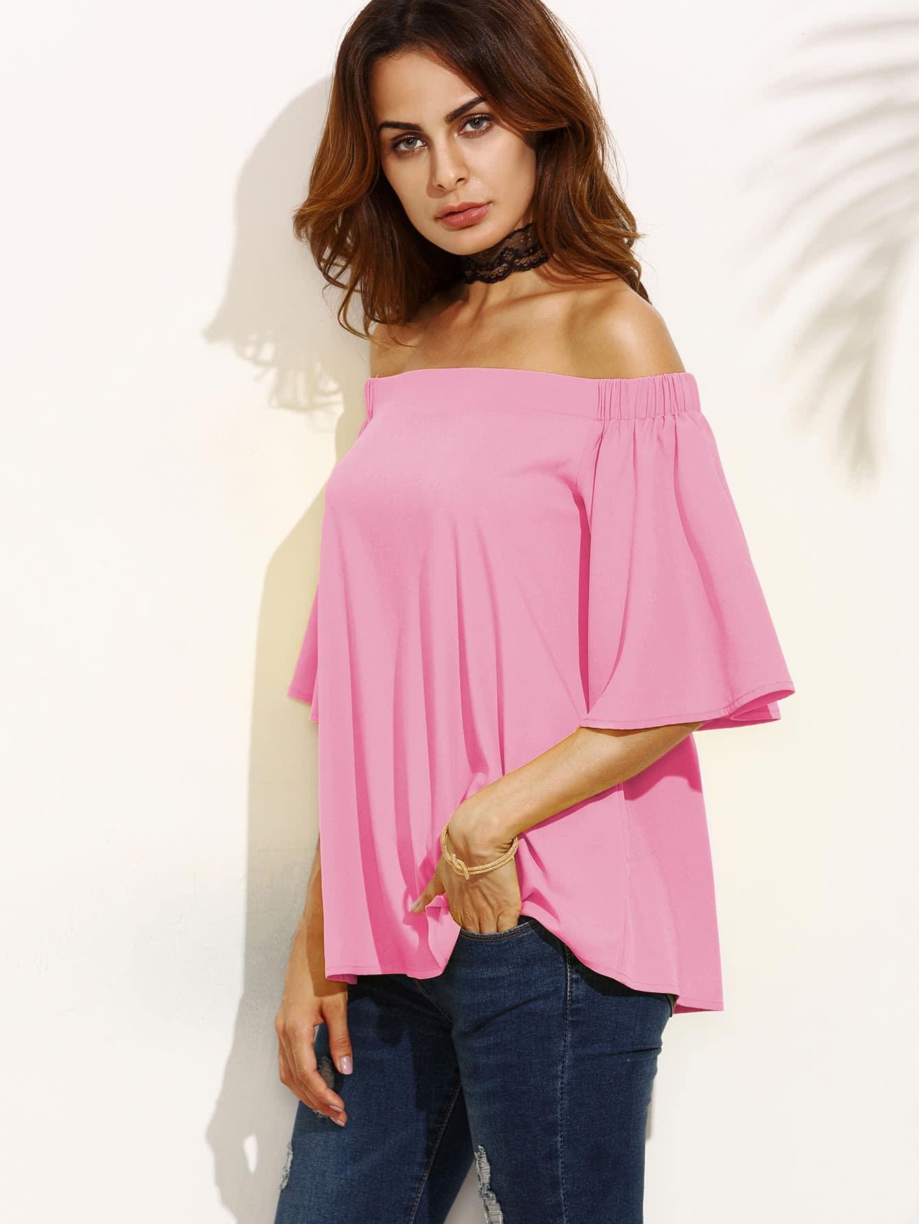Фото Frill Sleeve Bardot Top. Купить с доставкой