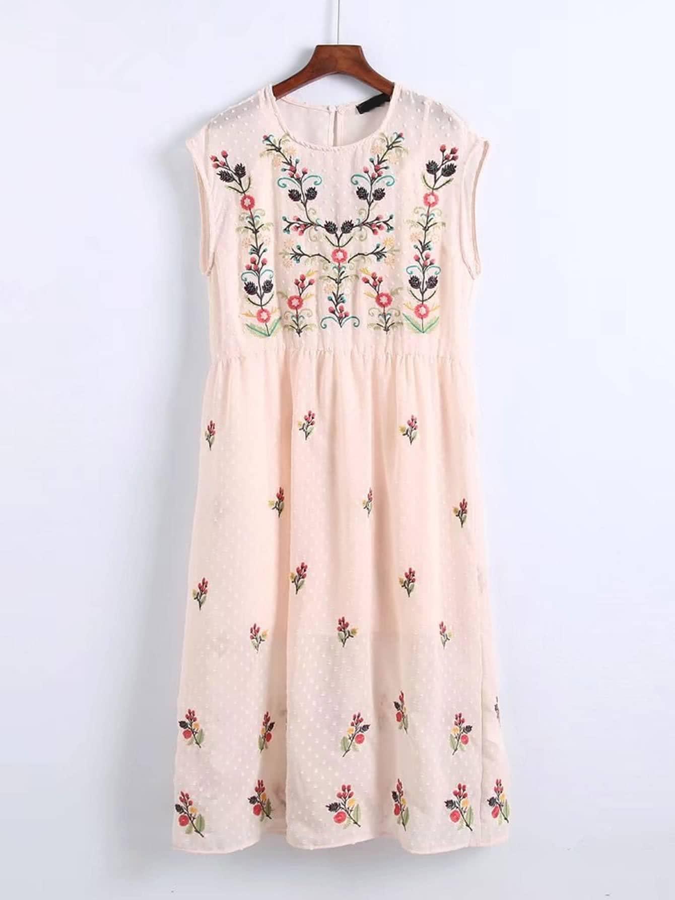Фото Flower Embroidery 2 In 1 Dress. Купить с доставкой