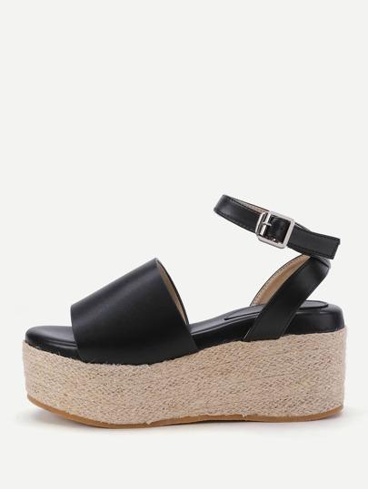 Sandalias de cuña en tejido con correa al tobillo