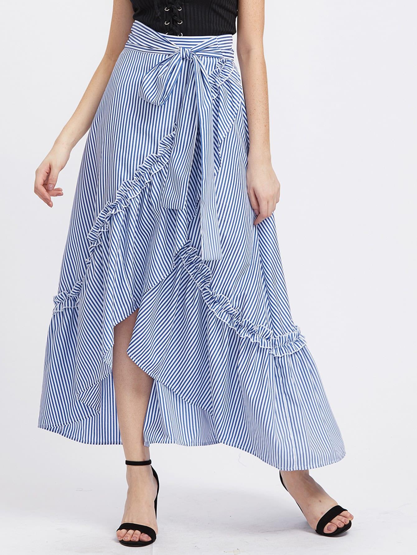 Фото Self Belt Ruffle Trim Striped Overlap Skirt. Купить с доставкой