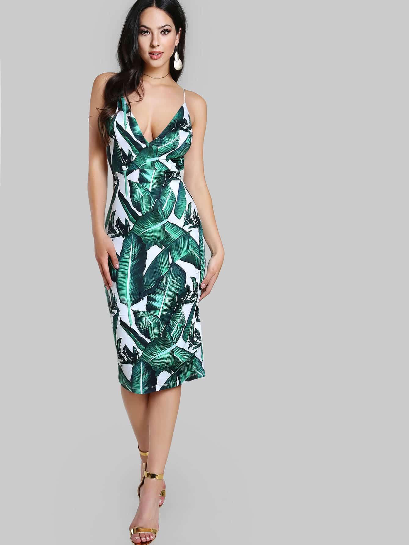 Купить Модное платье на бретельках с цветочным принтом и открытой спиной, Christen Harper, SheIn